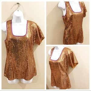 Plenty by Tracy Reese Gold Sequin Blouse Medium